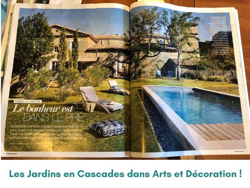 Actu LES JARDINS EN CASCADES_parutions dans le magazine Arts et Décoration